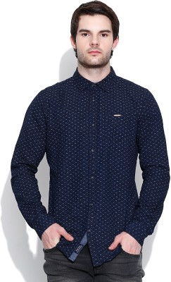 Being Human Men's Printed Casual Blue Shirt