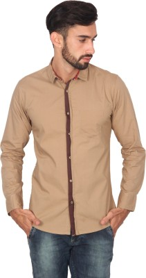 Ashford Brown Men's Solid Casual Brown Shirt