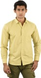 Aurus Men's Solid Formal Beige Shirt