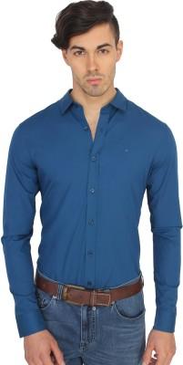 Calvin Klein Men's Solid Casual Blue Shirt