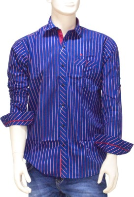 EXIN Fashion Men's Striped Casual Blue, Red Shirt