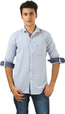 PraadoFashion Men's Striped Casual Blue, White Shirt