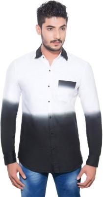 Goodkarma Men's Printed Casual White, Black Shirt