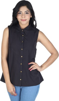 So Urban Women's Solid Casual Black Shirt