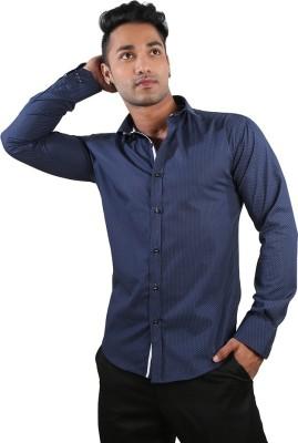 Just Differ Men's Printed Formal Blue Shirt