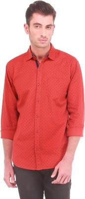 Sleek Line Men's Printed Casual Orange Shirt