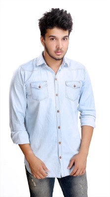 Camrick Men,s Solid Casual Denim Light Blue Shirt