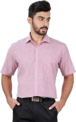 Zeal Men's Striped Formal Linen Pink, White Shirt