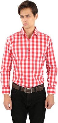 Eden Elliot Men's Checkered Formal Red, White Shirt