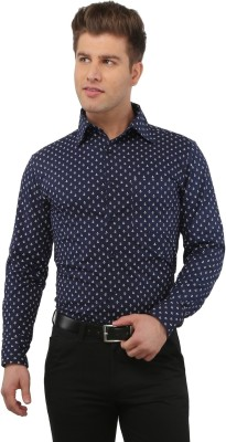 The Cotton Company Men's Printed Casual, Formal, Party, Festive, Wedding Blue Shirt