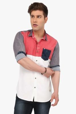 R&C Men's Self Design Casual Red Shirt