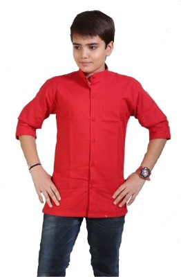Kiddu Boy's Solid Casual, Party, Festive Linen Red Shirt
