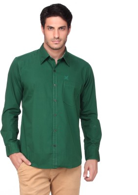 Fire & Ice Men's Woven Casual Green Shirt