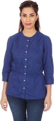Clodentity Women,s Self Design Casual Blue Shirt