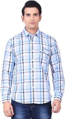 Moustache Men's Checkered Casual White, Blue Shirt