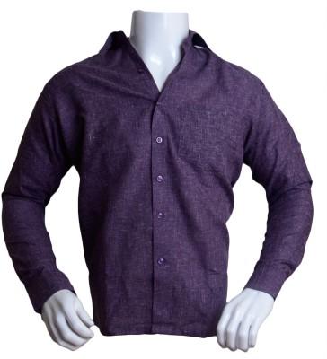 Qube Men's Solid Formal Purple Shirt