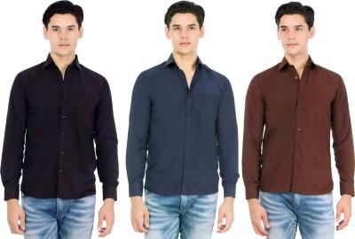 Atmosphere Men's Solid Casual Black, Blue, Brown Shirt