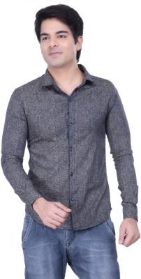 HOH Men's Printed Casual Dark Blue Shirt