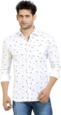 London Bee Men's Printed Casual White Shirt