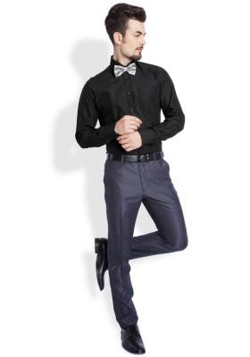 Parx Mens Solid Casual Black Shirt
