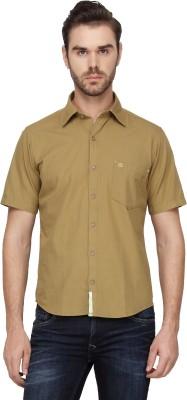 Cross Creek Men's Solid Casual Beige Shirt