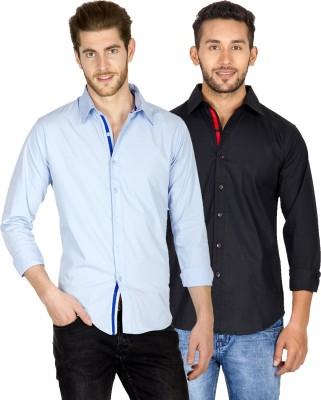 Tuscans Men's Solid Casual Light Blue, Black Shirt