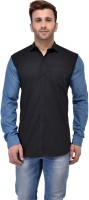 Salwarsaloon Formal Shirts (Men's) - SalwarSaloon Men's Solid Formal Black, Blue Shirt