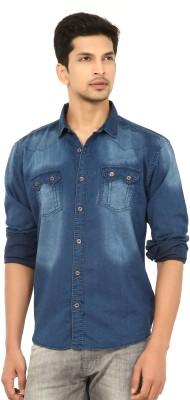 La Seven Men's Solid Casual Denim Blue Shirt