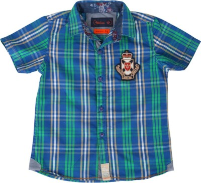 Einstein Boy's Checkered Casual Blue, Green Shirt