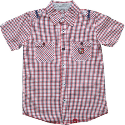 Globe Born Lucky Boy's Checkered Casual White, Red Shirt