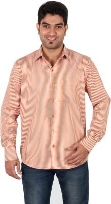 Green Apple Men's Striped Formal Orange Shirt