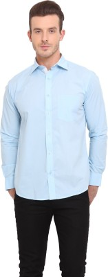 Ennoble Men's Solid Casual Blue Shirt