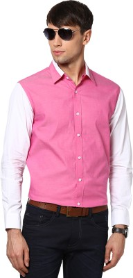 See Designs Men's Solid Casual Pink Shirt
