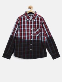 Yk Boys Checkered Casual Red Shirt