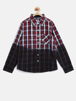 Yk Boy's Checkered Casual Red Shirt