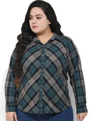 Amydus Women's Checkered Casual Green Shirt
