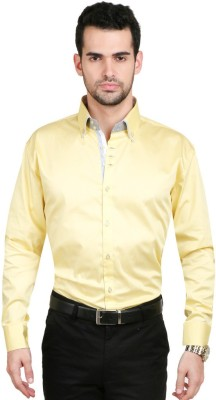Big Tree Men's Solid Casual Yellow Shirt