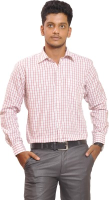 Proman Men's Checkered Formal White, Red Shirt