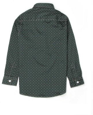 London Fog Boy's Polka Print Casual Green Shirt