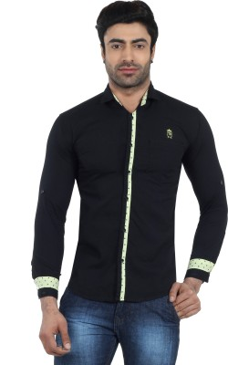 Fashion Stylus Men's Solid Casual, Party Black Shirt