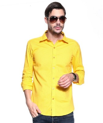 Rv Collection Men's Solid Casual Yellow Shirt