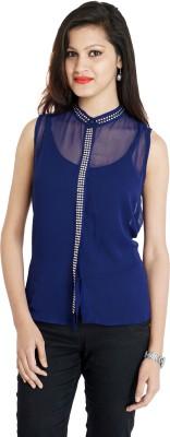 Franclo Women's Solid Formal Blue Shirt