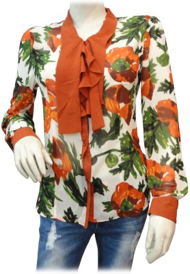 BK Black Women's Floral Print Casual Orange Shirt