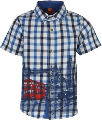 Silver Streak Boy's Printed Casual Blue Shirt