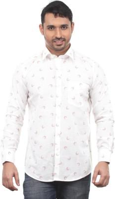 Chill Men's Printed Formal White Shirt