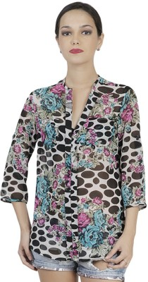 Mask Lifestyle Women,s Polka Print Casual Multicolor Shirt