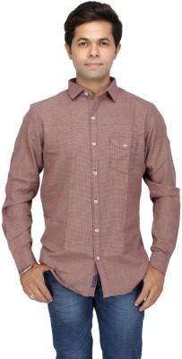 JG FORCEMAN Men's Solid Casual Brown Shirt