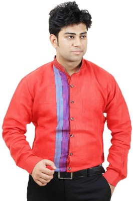 Siera Men's Printed Party Linen Red Shirt