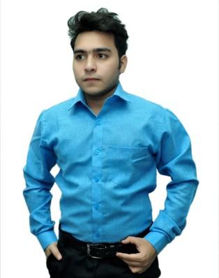 Fashion Tree Men's Solid Formal Dark Blue Shirt