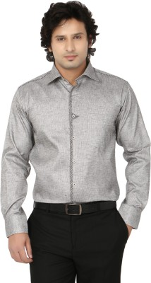 Side Effects Men's Solid Party Silver Shirt